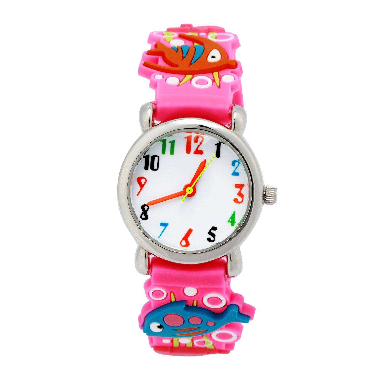 ELEOPTION 3D Cute Cartoon Quartz Watch Wristwatches with Silicone Band Time Teacher for Little Girls Boy Kids Children Gift (Sea World-Pink)