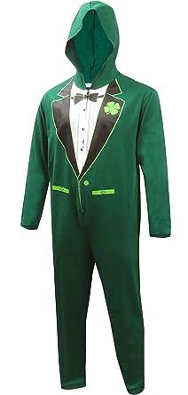 Luck of the Irish Green Tuxedo Onesie Pajama for men