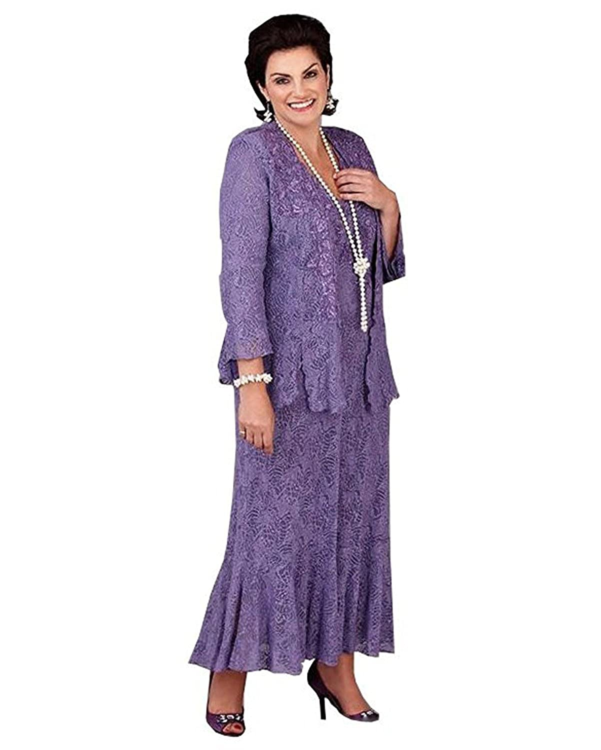 dressvip Round Neck Purple Lace 3/4 Sleeves Mother Of The Bride Suits For Women