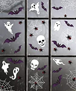 jollylife 174PCS Halloween Spider Webs Window Clings Decorations - Spiders Ghosts Bats Decals Haunted House Party Ornaments