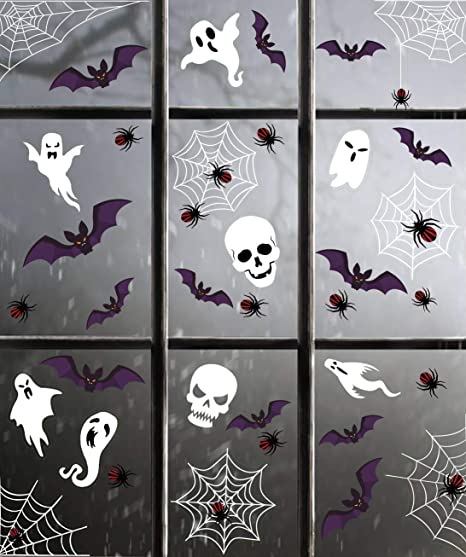 HALLOWEEN COBWEBS AND SPIDERS WINDOW DECAL