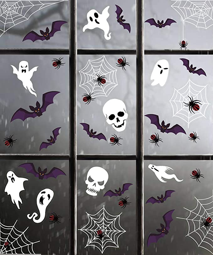 jollylife Spider Web Window Clings Halloween Decorations Decals Haunted House Party Supplies Ornaments 87 PCS