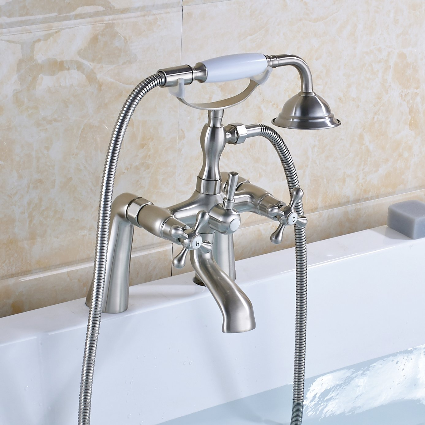 Rozin Deck Mounted 2 Holes Bathtub Filler Faucet with Handheld ...