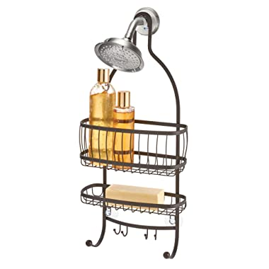 InterDesign York Metal Wire Hanging Shower Caddy, Extra Wide Space for Shampoo, Conditioner, and Soap with Hooks for Razors, Towels, and More, 10  x 4  x 22 , Bronze