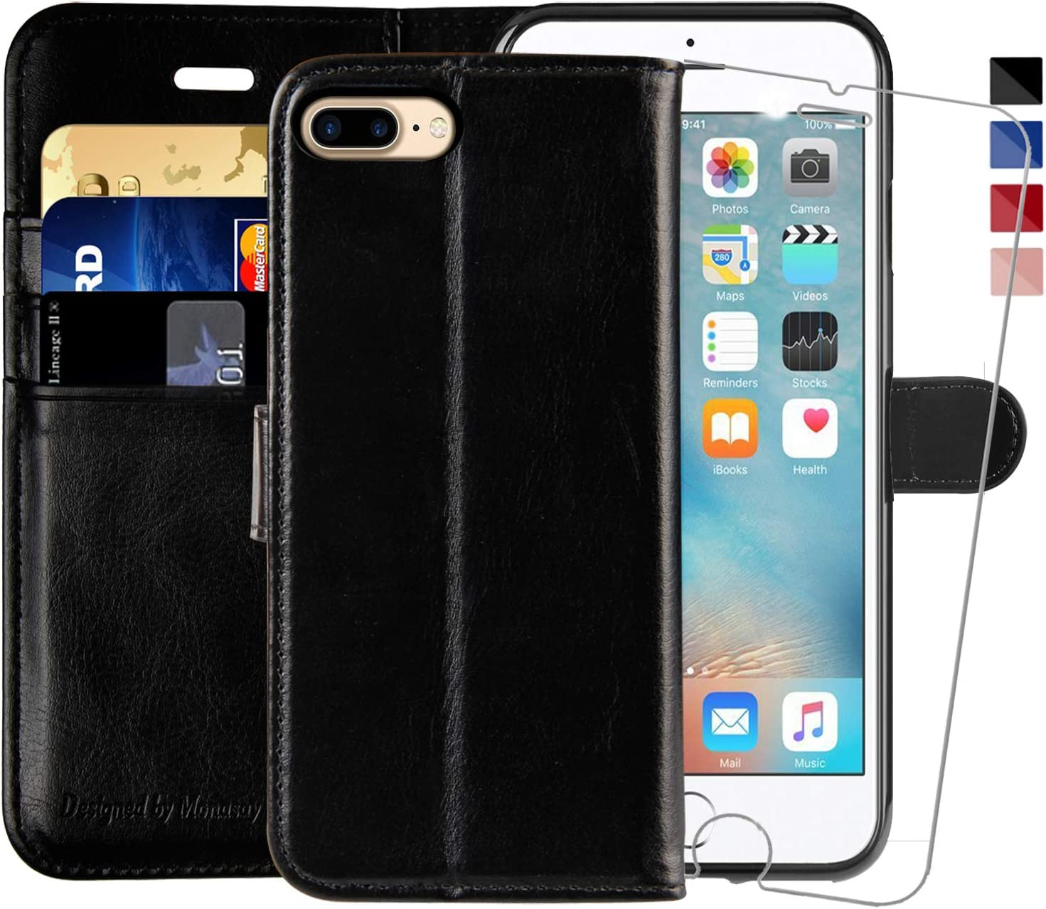 iPhone 7 Plus Wallet Case/iPhone 8 Plus Wallet Case,5.5-inch,MONASAY [Glass Screen Protector Included] Flip Folio Leather Cell Phone Cover with Credit Card Holder (Black1)