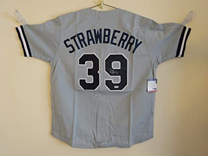 DARRYL STRAWBERRY SIGNED AUTO NEW YORK YANKEES GREY JERSEY PSA ... f9d51df4eab