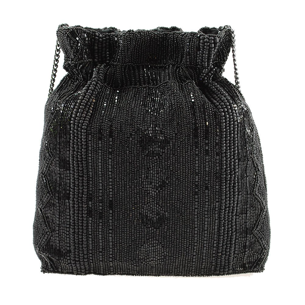 MARY FRANCES Black Out Beaded Solid Pattern Drawstring Crossbody Handbag by Mary Frances (Image #2)