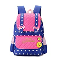EssVita Kid Child Princess Style School Bags Backpack for Primary Girls Students (Style B Pink+Dark Blue)