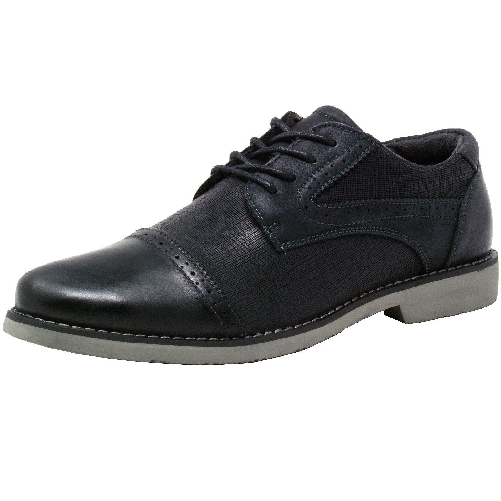 alpine swiss Double Diamond Men's Genuine Leather Cap Toe Oxford Dress Shoes BLK 8 M US