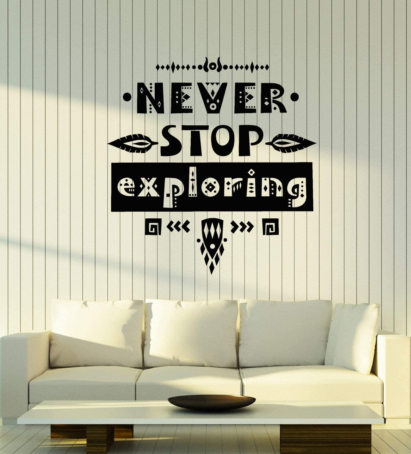 Vinyl Wall Decal Never Stop Exploring Adventure Motivational Phrase Stickers Mural Large Decor (g4392) Black