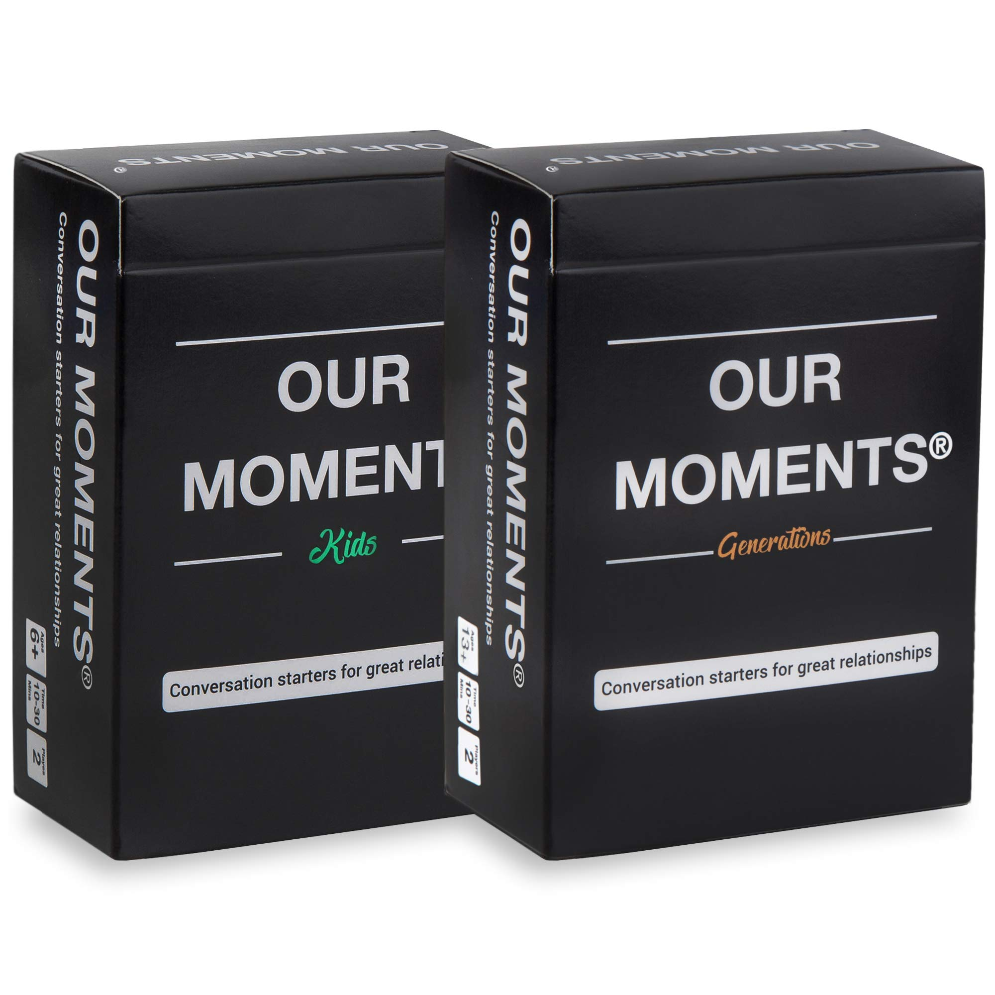 OUR MOMENTS Grandparents Bundle: 200 Thought Provoking Conversation Starter Questions. Grandchild to Grandparent/Parent- Fun and Meaningful Communication Game to Create Strong Family Ties by OUR MOMENTS