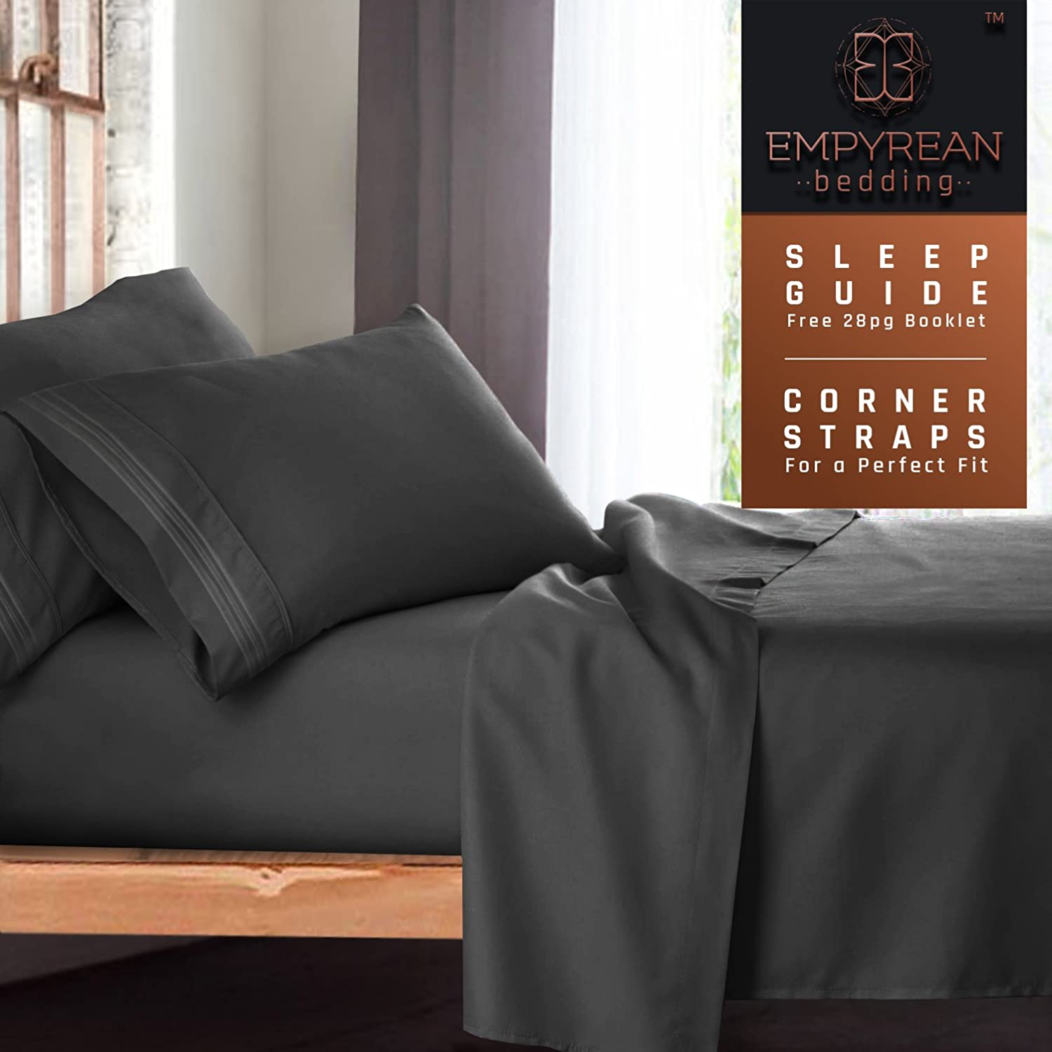 Empyrean Bedding King Bed Sheets Set, Grey Charcoal