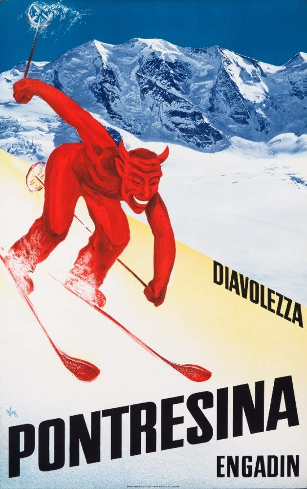 B01BK8AIOI Diavolezza Pontresina Engadin Vintage Poster Switzerland (24x36 Fine Art Giclee Gallery Print, Home Wall Decor Artwork Poster) 71CBiiYHhuL.SL1000_