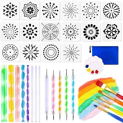 35Pcs Mandala Dotting Tools Set for Art Rock Painting Stencil Painting Tools Stylus Paint Tray for Canvas Rocks Crafting Drafting Art Supplies