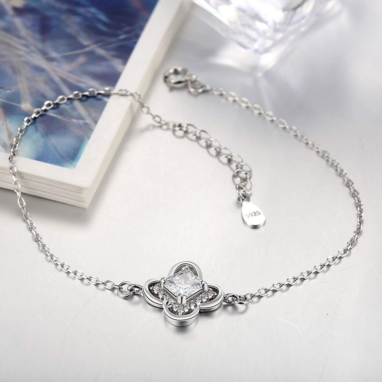 DVANIS 925 Sterling Silver Exquisite Inlaid Zirconia Flower Pendant Bracelet Adjustable Women
