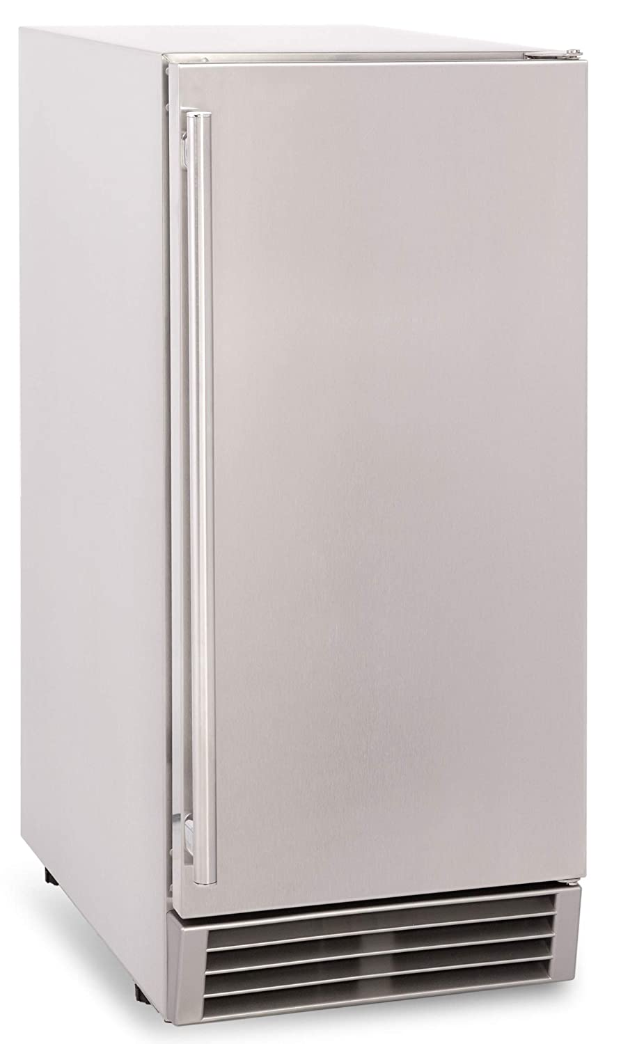 """Chef's Exclusive CE105 OUTDOOR Built-In Under Counter Clear Ice Maker Machine with Drain Pump and Internal LED Reversible Door 60 Pounds Per Day and 25 Pound Storage Capacity, 14.6"""" Wide, Silver"""
