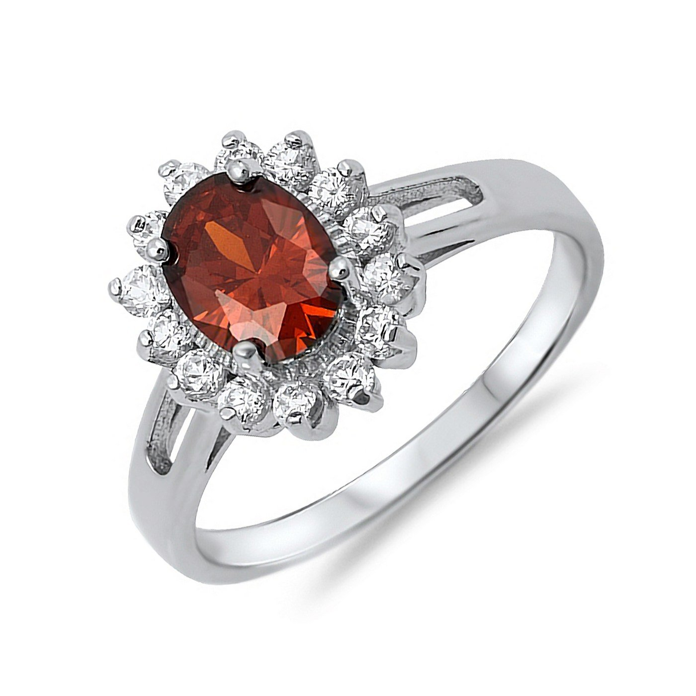 Oval Round Cut Simulated Ruby CZ Halo Style Womens 925 Sterling Silver Ring Sizes 5-9
