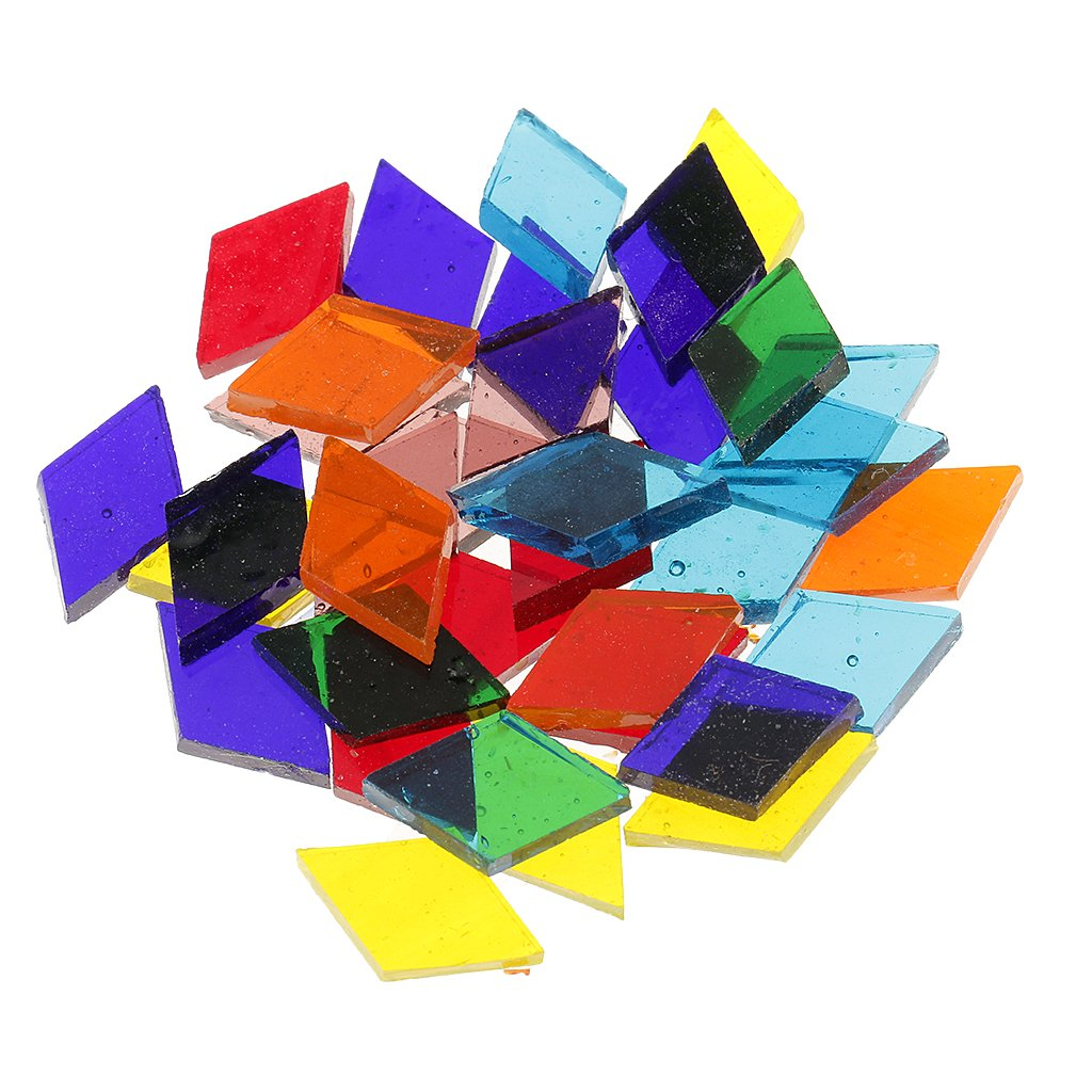 MagiDeal 250 Pieces Rhombus Shape Assorted Colors Clear Glass Pieces Mosaic Tiles Tessera for Arts DIY Craft 11mm
