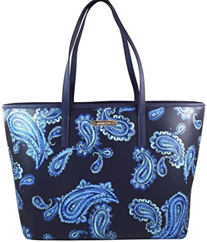 d856a9d9582e sale michael kors emry admiral blue paisley saffiano leather large tote  handbag shoulder bag 457a7 7f63d
