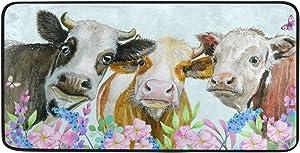 AGONA Anti Fatigue Kitchen Mat Watercolor Cows Animals Flowers Kitchen Rugs Non Slip Soft Standing Mats Absorbent Floor Mat Bath Rug Runner Area Rug Carpet for Home Decor Indoor Outdoor