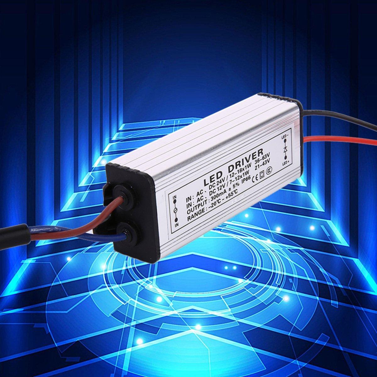 Gugutogo 12-18W AC / DC1 2-24V alluminio LED trasformatore elettronico alimentatore Driver alimentatore a bassa tensione argento (Colore: argento)