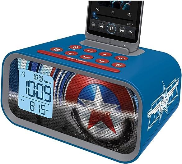 KEiiD Digital Alarm Clock Radios Speaker Wall Mountable with FM Radio Bluetooth Receiver USB 3.5 mm AUX Line in Headphone Jack, LED Dimmer Nightlight