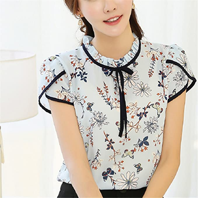 NEW Summer Floral Print Chiffon Blouse Ruffled Collar Bow Neck Shirt Petal Short Sleeve Chiffon Tops at Amazon Womens Clothing store: