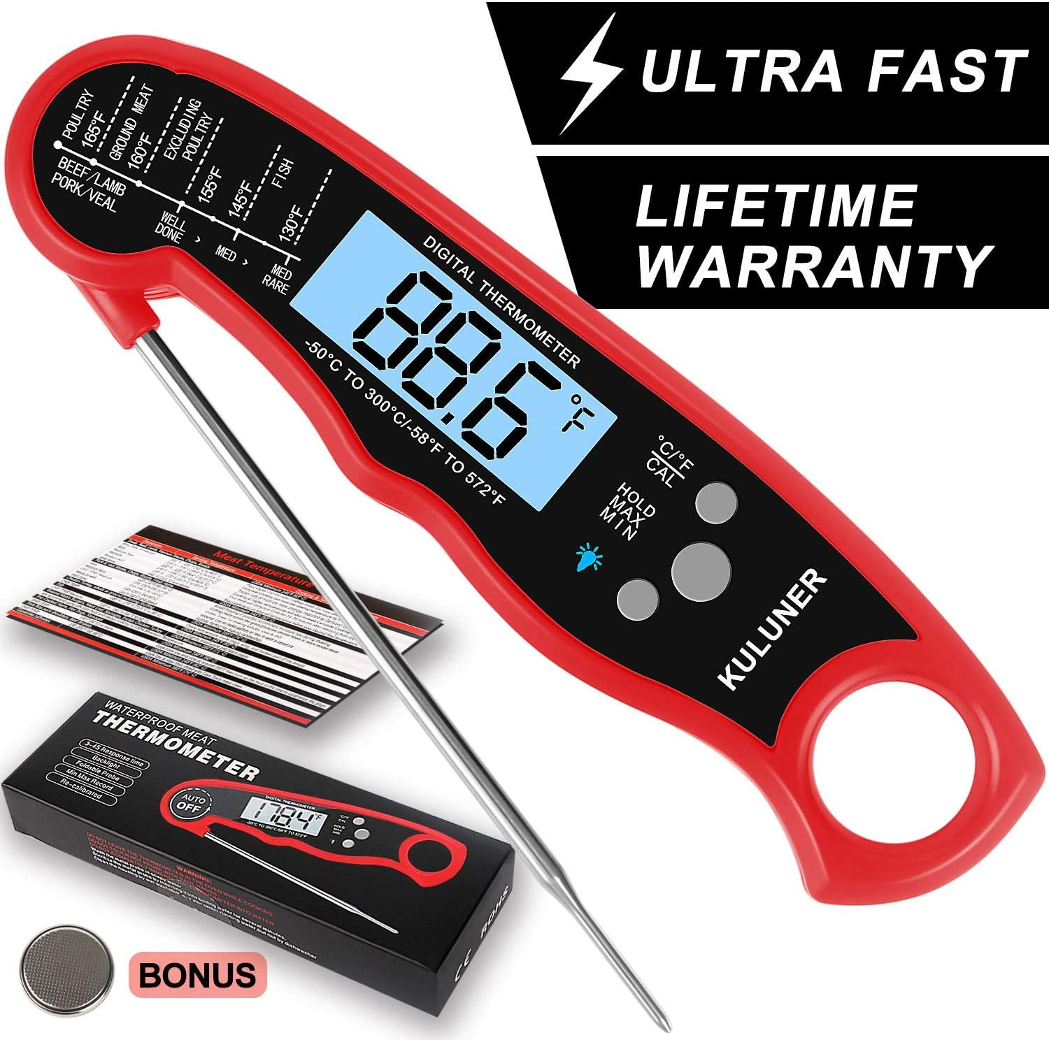 "KULUNER Waterproof Digital Instant Read Meat Thermometer with 4.6"" Folding Probe Backlight & Calibration Function for Cooking Food Candy, BBQ Grill, Liquids,Beef(red)"