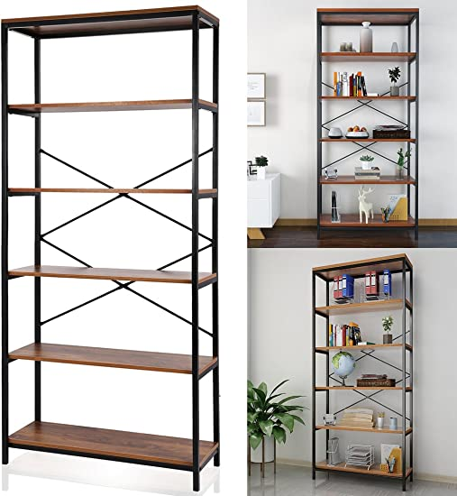 5-Shelf Bookcase Industrial Style Bookshelf Metal and Wood Standing Storage Shelf Unit