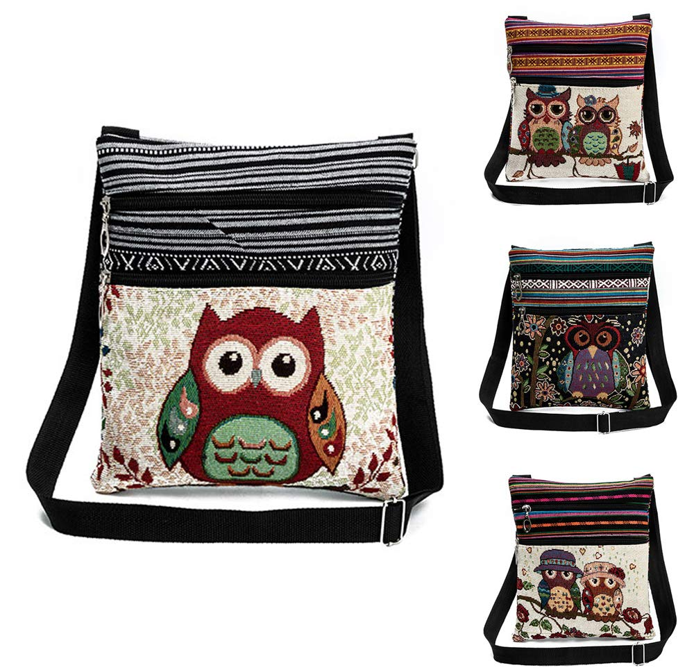 Vintage Ethnic Tribal Embroidered Owls Sling Crossbody Boho Hippie Shoulder Bag (9.3x8.3 Inches, A) by Faithtur (Image #2)