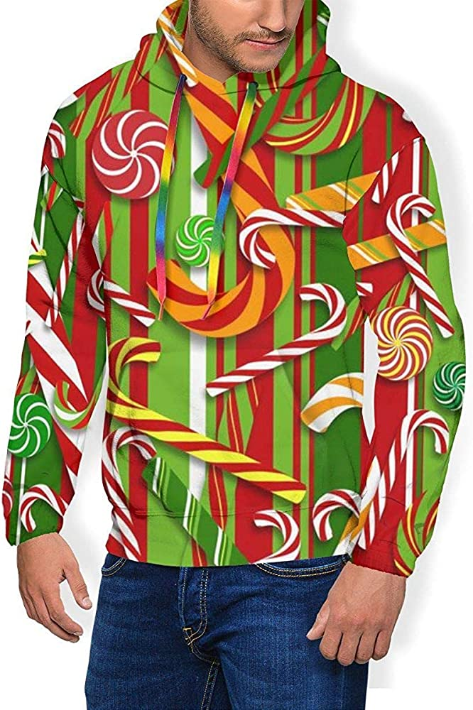 Sudadera con Capucha Sweet Candy Cane Pullover Hoodie para Hombres ...