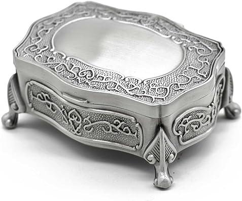 AVESON Joyero rectangular de metal vintage, caja de regalo para joyas, caja de joyería, caja de regalo para anillo de pecho, para niñas y mujeres, pequeño: Amazon.es: Joyería