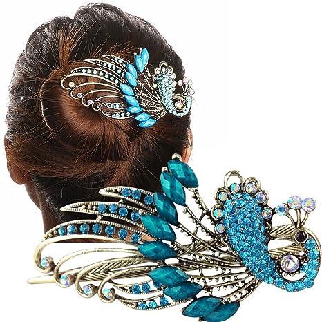 recherche de véritables qualité Clairance de 60% Fermaglio spillone Pavone Blu accessori capelli strass acconciatura  fermacapelli