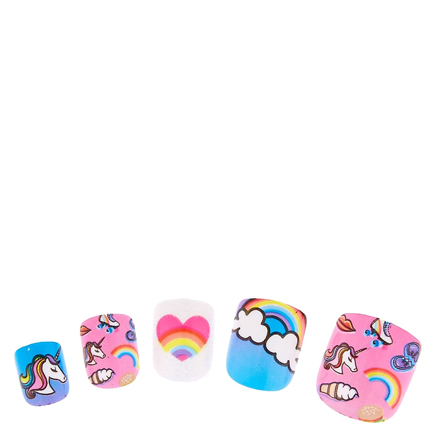 Amazon.com: Claire s Girl s Unicorn Rainbow Uñas Postizas ...