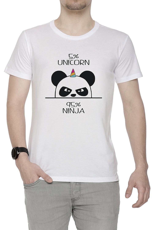 Unicorn Ninja Panda Hombre Camiseta Cuello Redondo Blanco ...
