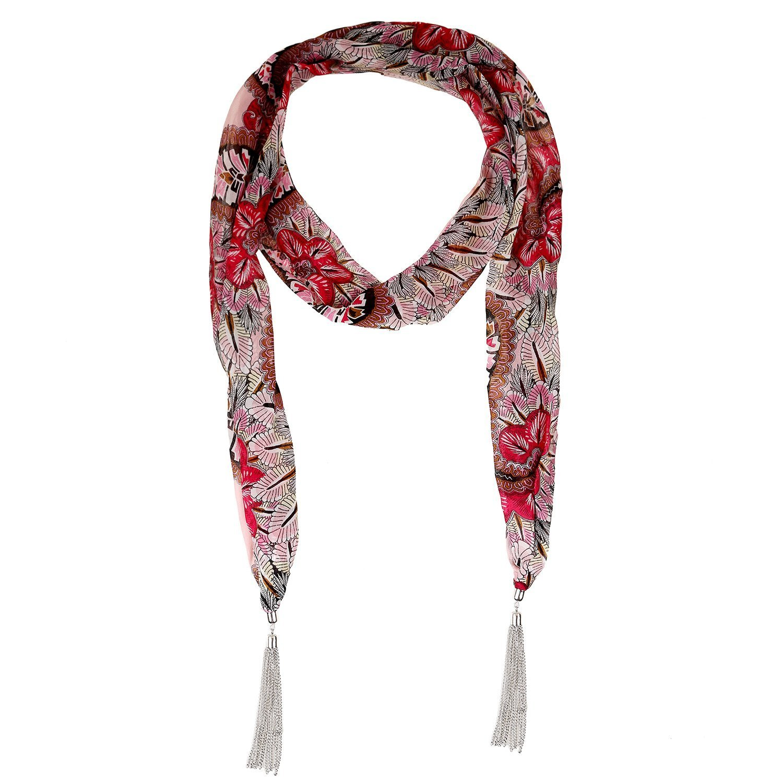 Lureme® vintage estilo bohemio tono de rodio estilo borlas de metal con patrón de hojas de impresión bufanda collar (01003176) (Rosa) Yida 01003176-1
