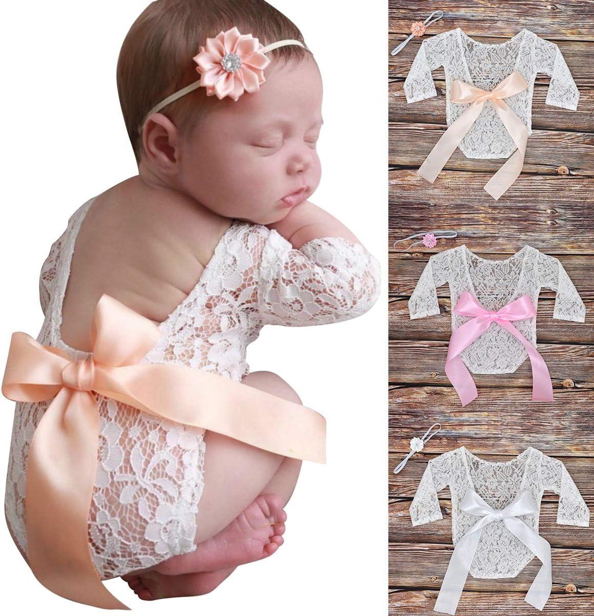 DaMohony Ropa de Fotograf/ía para beb/és reci/én Nacidos Accesorios de fotograf/ía de 2 Piezas Ropa Encaje Blanco Infantiles