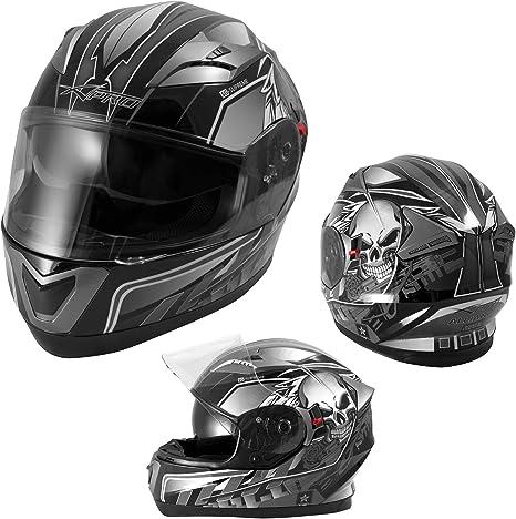 Casque Int/égral Visi/ère Pare Soleil ECE 22-05 Approuv/é Moto Scooter A-Pro Argent XS