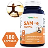 Best SAM-e 1500mg 180 Capsules (NON-GMO) - SAMe (S-Adenosyl Methionine) to Support Mood, Joint Health, and Brain Function - Extra Strength SAM e Pills - 500mg per caps - 100% MONEY BACK GUARANTEE!