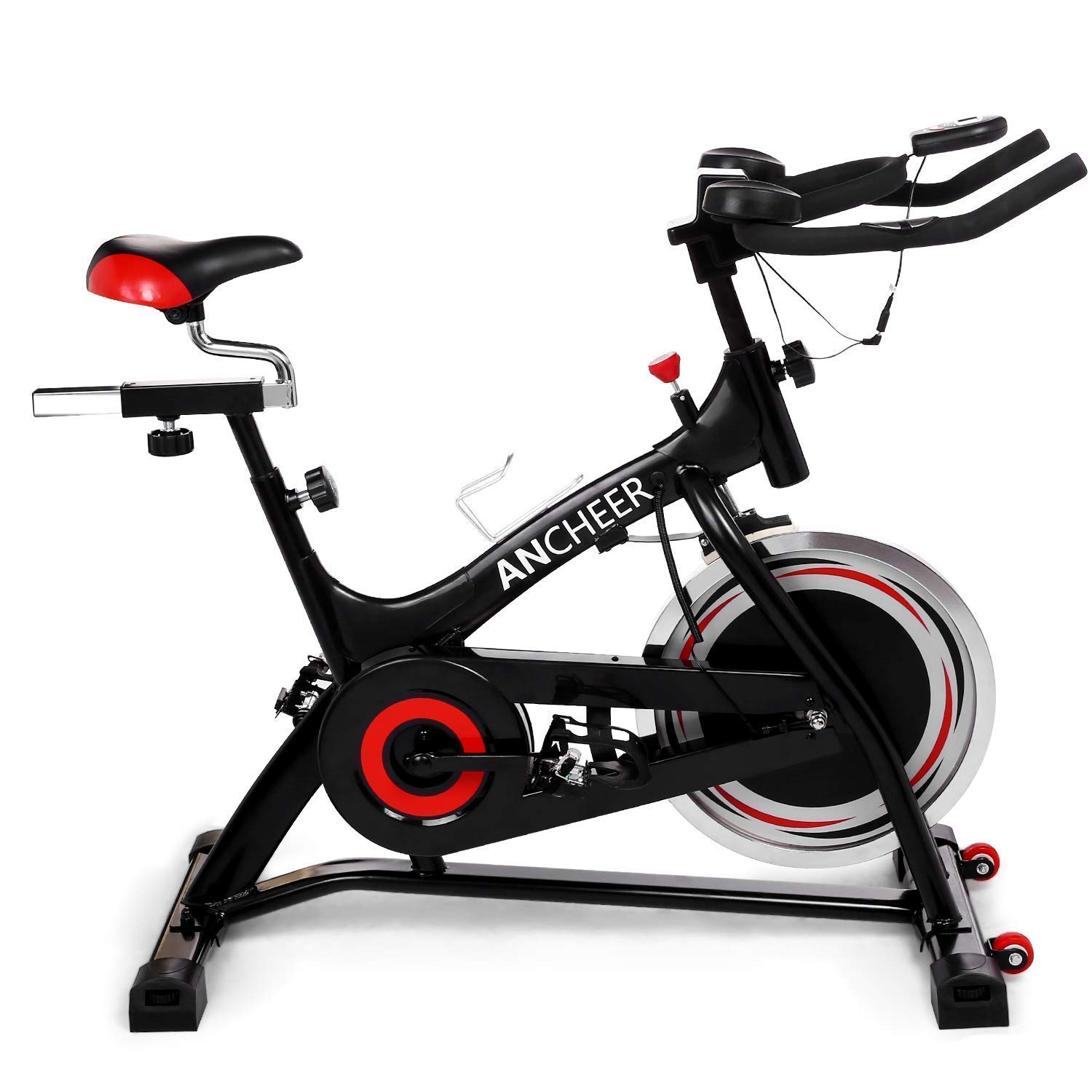 ANCHEER Stationary Bike, 40 lbs Flywheel Indoor Cycling Exercise Bike with Heart Rate, Quiet Smooth Belt Drive System, Adjustable Seat & Handlebars & Base by ANCHEER