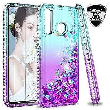 LeYi Funda Huawei P30 Case Silicona Purpurina Carcasa con [2-Unidades Cristal Vidrio Templado],Transparente Cristal Bumper Fundas Cover para Movil ...