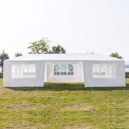 Luckymday 10×30 Feet Pop Up Canopy Tent Heavy Duty Wedding Party Event Tent White Instant Tent 7 Removable Sides Waterproof Outdoor Gazebo Tent