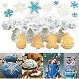 Anokay Lot DE 10 pièces Emporte-pièces en Forme de Flocons de Neige avec éjecteur