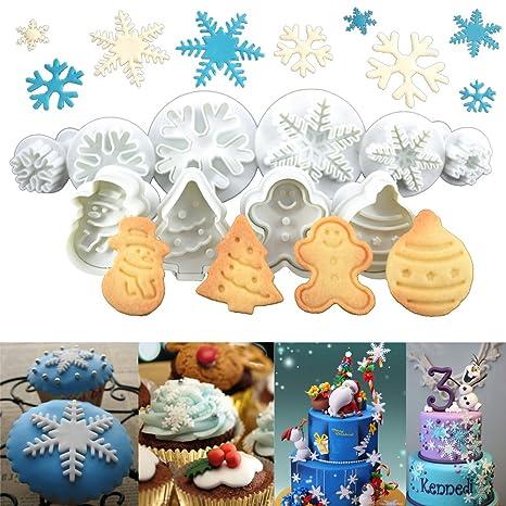 Biscotti Decorati Per Albero Di Natale.Anokay Set 10 Pz Formine Ad Esplsuesione Per Biscotti Bianco Per