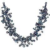 Valero Pearls Classic Collection Damen-Kette Hochwertige Süßwasser-Zuchtperlen in ca.  4-6 mm Barock blau 925 Sterling Silber    42 cm + 5 cm Verlängerung   120314