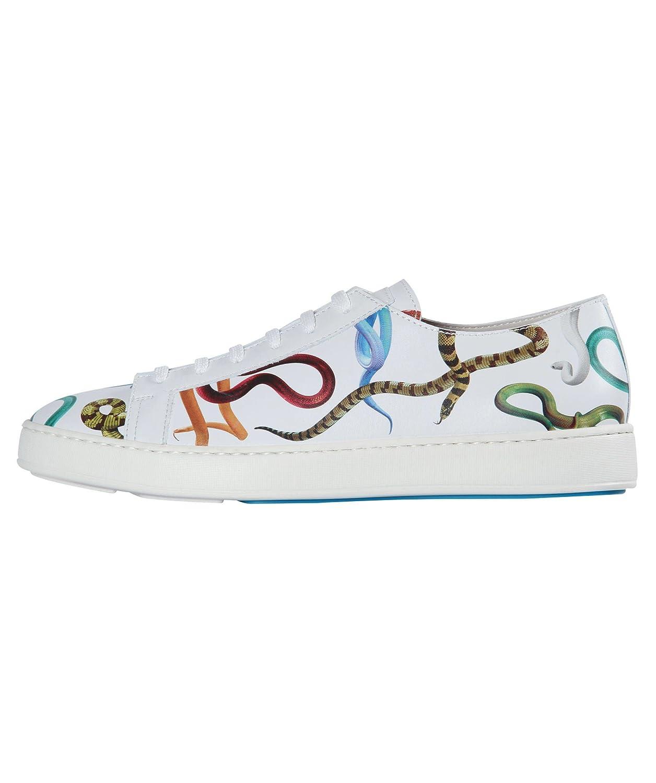 Santoni Zapatillas de Piel Para Hombre Blanco Bianco 6.5