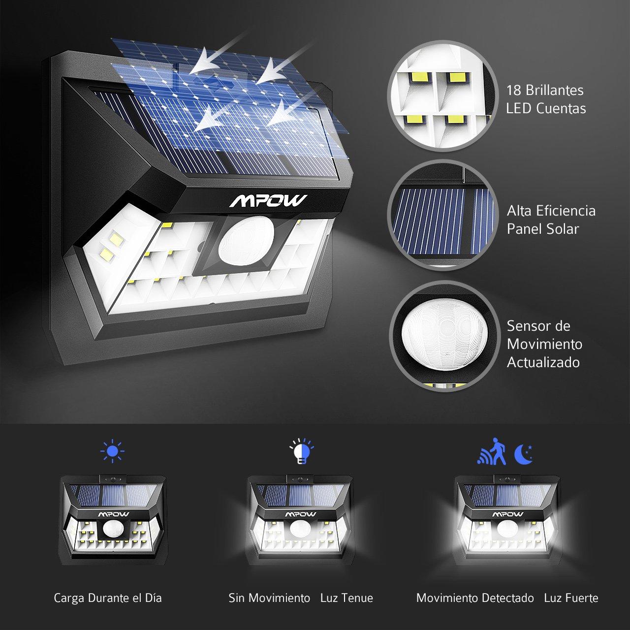 Mpow 18 LED Sensor de Movimiento Luz Solar, Panel Solar de Alta Eficiencia, Ángulo de Detección de 120 °, Resistente a la Intemperie, Gran Luz Exterior para ...