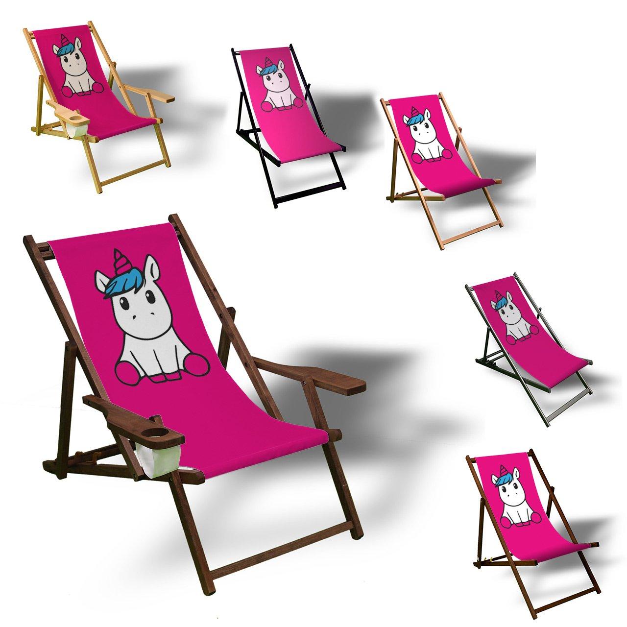 Printalio Pink Einhorn - Liegestuhl Bedruckt Balkon Garten Sonnenliege Relax Holz Terrasse   ohne Armlehne, Dunkelbraun