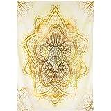 Finether-Tapiz Indio (Esterilla Bohemia, Rectangular, Para Yoga, Mantel de Mesa, Mantas, Decoración de Pared) Amarillo