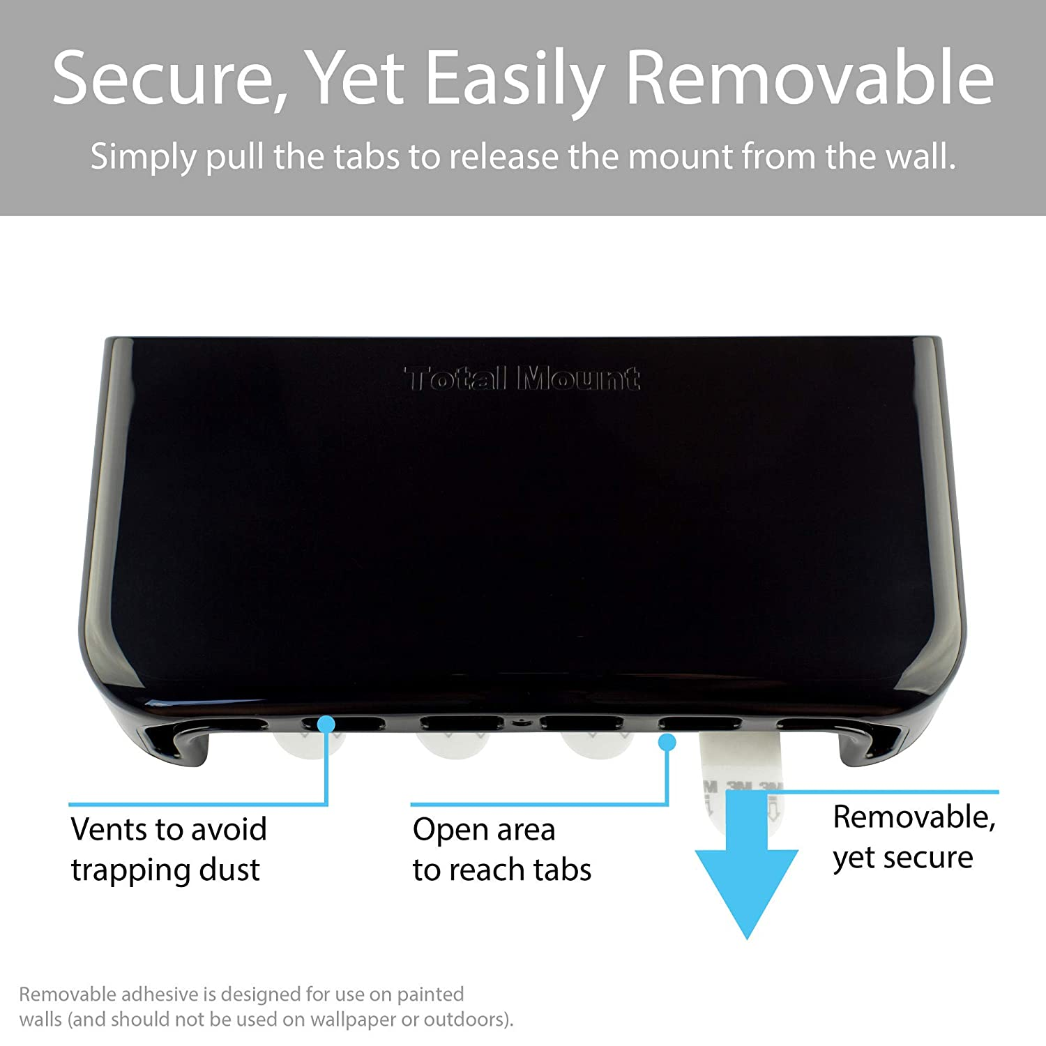TotalMount Hole-Free Remote Holders for 3 or 4 Remotes - Black - Quantity 2 Eliminate Need to Drill Holes in Your Wall